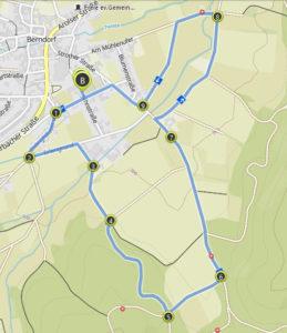 Berndofer Volkslauf 5 Kilometer Strecke